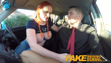 Fake Driving College Examiner Drizzles Spunk All Over Learners Fur Covered Pussy