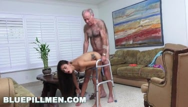 Blue Pill Fellows  Grandpa Popping Pills And Romping Taut Latina Teenager Pussy