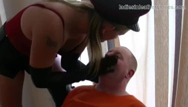 Smoking Leather Dressed Towheaded Dominatrix In Gloves And Footwear Fetish Dominance Session With Inmate Victim Bitch