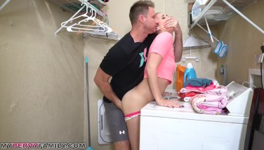 Step Sis Sierra Nicole Gets Mayo Pie On Top Of Washer By Older Brother