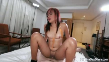 Filipina Honey Gets All Her Fuckholes Jammed By Milky Cock