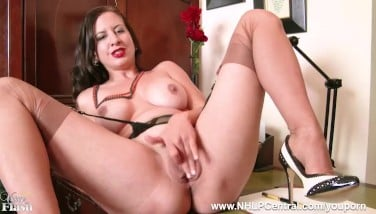Busty Black-haired Tindra Decorate Milks In Antique Dark-hued Seam Nylons And Pulverize Me Stiletto Heels