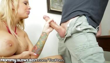 Big Breast Step Mummy Gargles And Masturbates Son's Hefty Pecker B4 Dad Sees