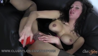 Dirty Dark Haired Super-bitch With Meaty Boobies Pummels Fucktoy In Downright Fashioned Nylon Tights And Ebony Lingerie