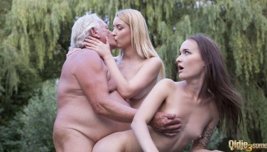 Horny Teenagers Humped Together Ginormous Old Grandpa Rigid And Make Him Cum