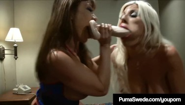 Busty Ash-blonde Puma Swede Supplies Pizza And A Cord On Cock