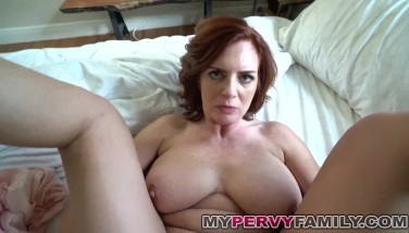 Horny Huge-titted Mummy Andy Pulverizes Her Step Sons Ample Cock