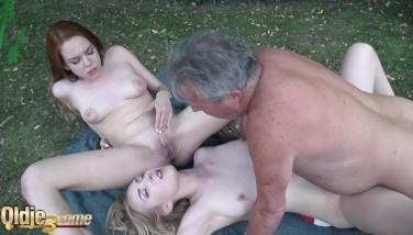 Grandpa 70 Years Old Ravages Youthful Legal Yo Ladies Gobbles Poon And Finishes Off On Tits
