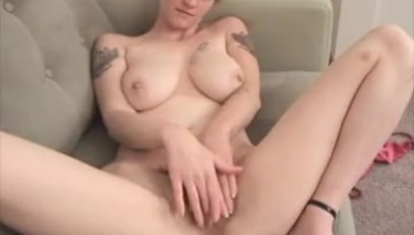 Sexy Buxom Light-haired Kneading Her Fur Covered Cootchie And Engorged Clit