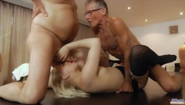 Sexy Teenage Waitress Is Group-fucked By A Gang Of Grandpas At The Office