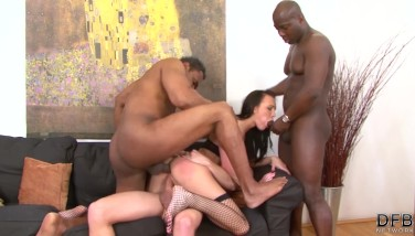 Fucked By Numerous Dicks In The Same Time In Rump Cunt And Mouth