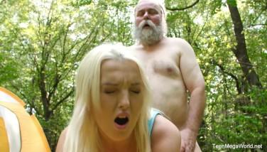 Oldnyoung.com  Lovita Destiny  Mushroom Hunter Picks Up Blond Pussy